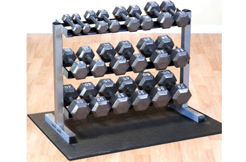 Body Solid GDR363 Horizontal Dumbbell Rack with Hex Dumbbells