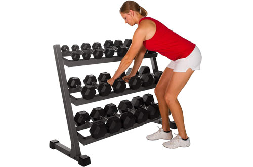 XMARK 550 lb. Hex Dumbbell Set with Rack - Dumbbell Pairs 5-50 lb Set