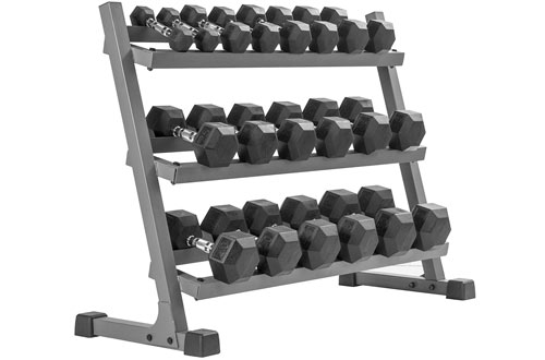 XMARK Heavy Duty 2 or 3 Tier Dumbell Rack -  350 lbs. to 550 lbs Hex Dumbells Sets