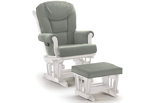 Lennox Multiposition-lock Wood Glider Chair and Ottoman Combo