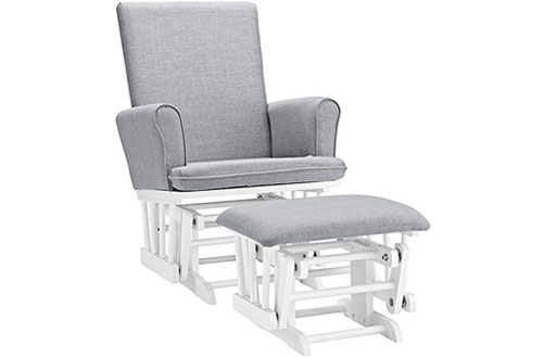 Angel Line Ashley Semi-Upholstered Grey Glider Chair and Ottoman with Cushion