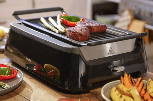 Philips HD6371/98 Indoor Smoke-less Grill with Bonus Cleaning Tool