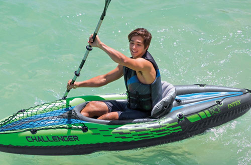 Intex Challenger 1-Person Inflatable Kayak Set with Aluminum Oars & High Output Air Pump