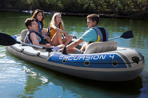 Intex Excursion 4 Inflatable Boat with Aluminum Oars & High Output Air Pump