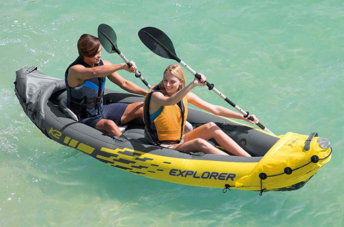Intex Explorer 2-Person Inflatable Kayak Set with Aluminum Oars and Air Pump