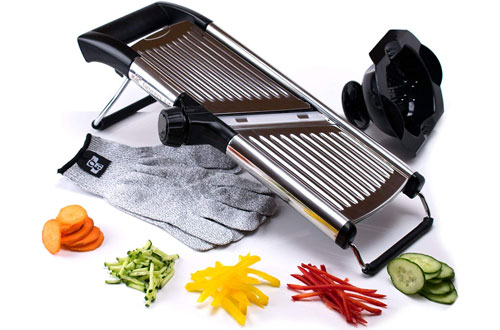 Grocery Art Premium Stainless Steel Mandoline Slicer with Cut-Resistant Gloves & Blade Guard