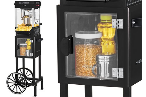 Nostalgia KPM200CTBK Vintage Mini Popcorn Machine Cart
