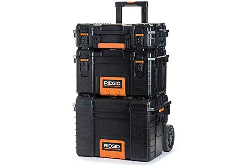 RIDGID Professional Tool Box Cart & Organizer Stack with 3-Toolbox Combination