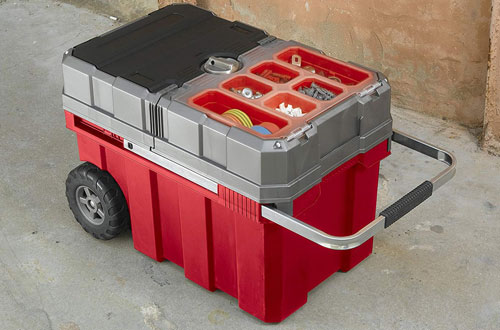 Keter Masterloader Plastic Rolling Tool Box Organizer on Wheels