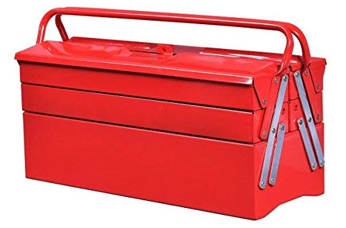 Goplus Portable Metal Tool Box - 5-Tray Steel Tool Chest Organizer