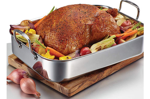 Anolon Tri-Ply Clad Stainless Steel Large Roasting Pan with Rack