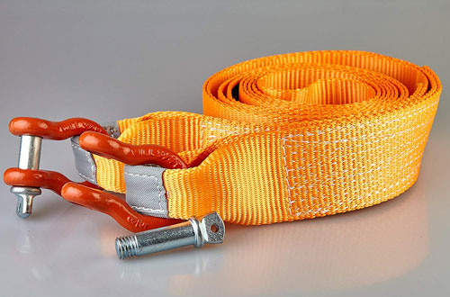 Mozzbi Recovery Tow Strap with D-Ring Shackle and Loops