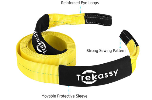 Trekassy Heavy Duty Recovery Tow Strap for Race Car, Truck and Jeep
