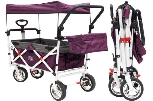 Creative Outdoor Collapsible Folding Wagon Stroller for Kids with Sun & Rain Shade