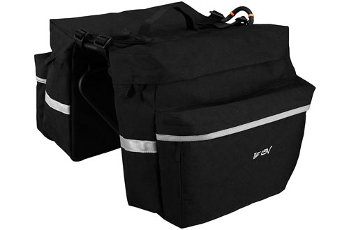 BV Bicycle Pannier Bag with Hooks, Handle, Reflective Trim and Large Pockets