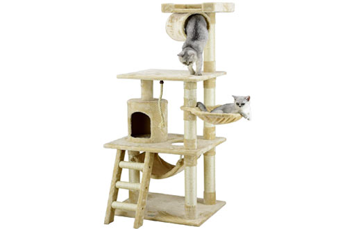 Go Pet Club 62-Inch Cat Tree Condo Furniture Beige Colo