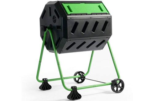 Hot Frog Mobile Dual-Chamber Compost Bin Tumbler