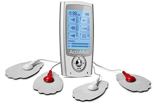 AccuMed Portable Rechargeable Tens Unit - EMS Electronic Pulse Massager Stim Machine for Back and Neck Pain Relief