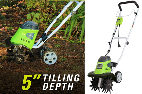 "Greenworks 10"" 8 Amp Corded Tiller for Garden"