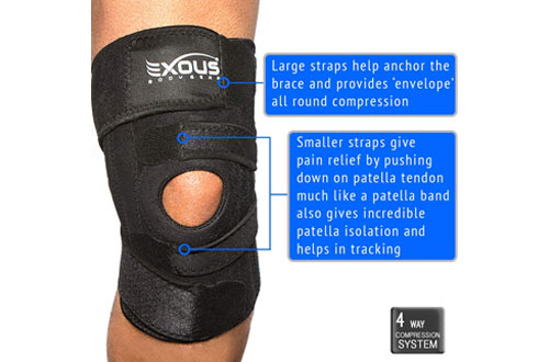 EXOUS Knee Brace Support Protector for Arthritis, Sport & Running