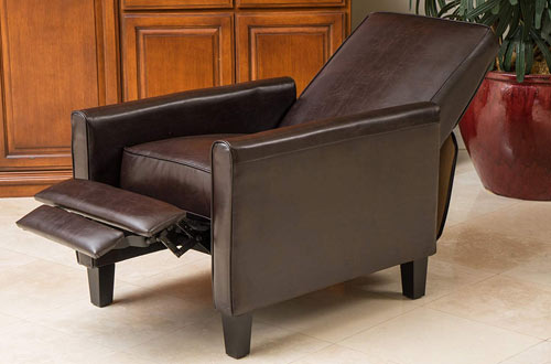 Great Deal Furniture Lucas Brown Modern Recliner Leather Club Chair