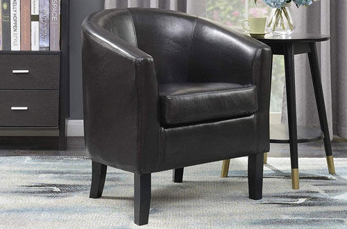 Belleze Modern Faux LeatherClub ChairTub Barrel Style