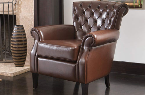 Shafford Brown Tufted Leather Club Chair with Rolled Arms and Back