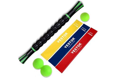 VESTOK Muscle Roller Resistance Bands - Massage Roller Set & Massage Stick