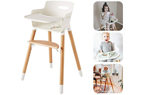 Ashton Wooden High Chair for Babies and Toddlers - with Harness & Tray