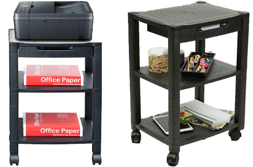 Mind Reader 3-Shelf Printer Cart & Stand with Drawers