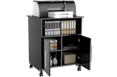 Yaheetech Rolling Printer Stand Cart with Storage & Cupboard Rolling Shelf Desk