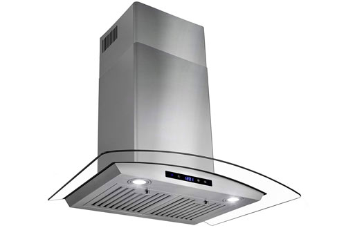 "AKDY 30"" Wall Mount Stainless Steel Tempered Glass Kitchen Cooking Vent Fan Range Hood"