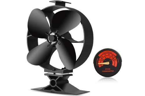 CWLAKON Silent 4-Blades Large Size Heat Powered Stove Fan with Stove Thermometer