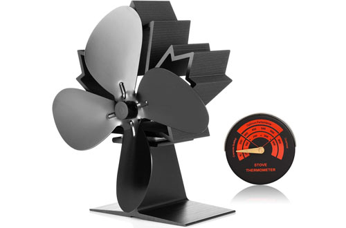 CWLAKON Wood Stove Fan with Stove Thermometer