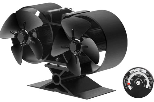 Sonyabecca Twin Heat Powered Fan Wood Stove for Insert Fireplace Fans