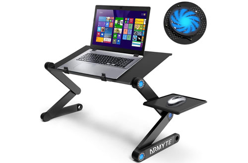 Armyte Adjustable Aluminum Laptop Desk/Table for Bed, Sofa & Couch