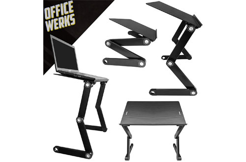 Officewerks Computer Laptop Stand & Desk with Aluminum Legs and Tray Supports