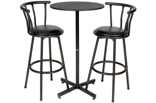 Roundhill Furniture Nor Hill 3-Piece Metal Height Bar Table Set