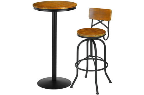 VILAVITA Wood Pub Table Round Bar Table with Metal Leg and Base