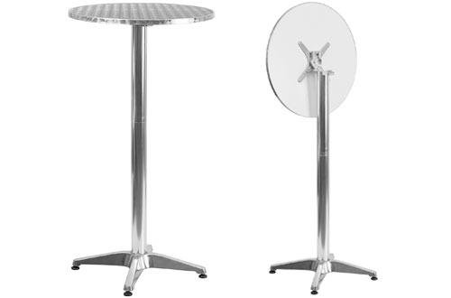 Flash FurnitureRound Aluminum Outdoor Folding Bar Height Table with Base