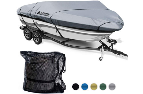 Leader Accessories 600D Polyester Waterproof Trailerable Runabout Boat Cover