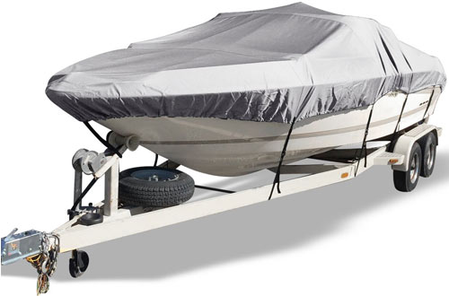 YITAMOTOR Outdoor Waterproof Boat Cover for V-Hull with Quick Release Buckle and Strap