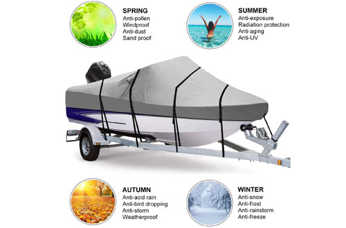 RVMasking Waterproof 800D Polyester Trailerable Full-Size Boat Cover
