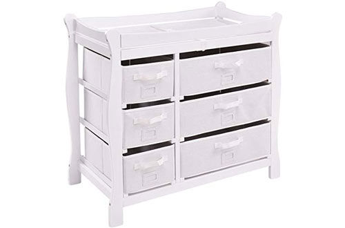 Costzon Baby Dresser Changing Table with Pad & Hamper