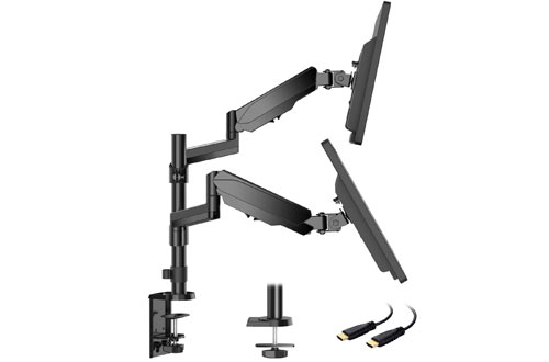HUANUODual Arm Monitor Standwith C Clamp/Grommet Base