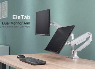 EleTab Dual Arm Monitor Stand - Height Adjustable VESA Mount