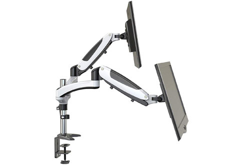 HUANUODual Monitor Mount -Full Motion Monitor Arm Stand & Height Adjustable Monitor Riser
