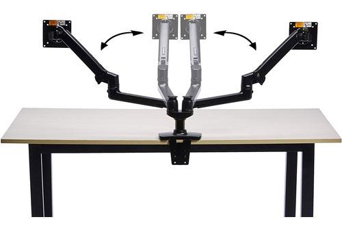 AmazonBasics Premium Aluminium Dual Monitor Stand - Lift Engine Arm Mount