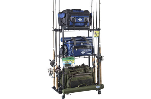 Organized Fishing Adjustable Rolling Tackle Trolley for Fishing Tackle Storage