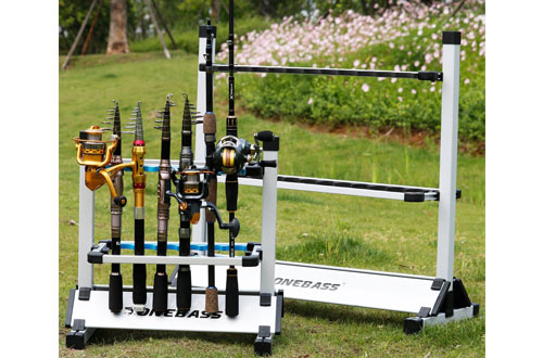 One Bass PortableMetal Aluminum Alloy Fishing Rod Organizer